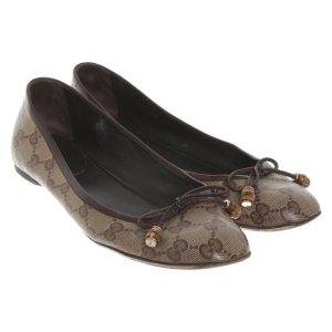 Gucci Bailarinas de charol con tacón marrón-marrón oscuro Cuero