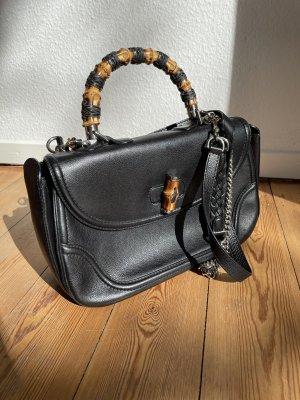 Gucci Bamboo Bag (groß), Leder, Schwarz
