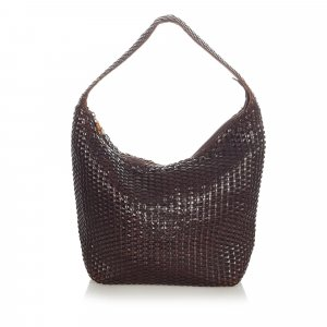Gucci Bamboo Basketweave Leather Shoulder Bag