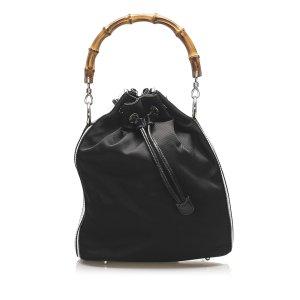 Gucci Bamboo Canvas Bucket Bag