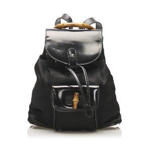 Gucci Bamboo Canvas Drawstring Backpack
