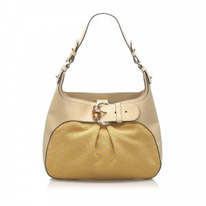 Gucci Bamboo Diamante Canvas Shoulder Bag