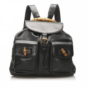 Gucci Bamboo Drawstring Leather Backpack