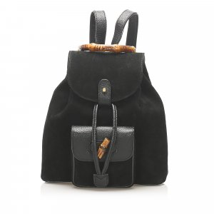 Gucci Bamboo Drawstring Suede Backpack