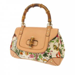 Gucci Bamboo Flora Nailhead Handbag