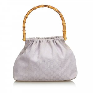 Gucci Bamboo GG Canvas Handbag
