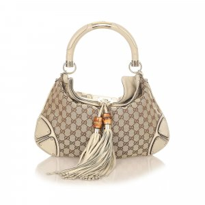 Gucci Bamboo GG Canvas Indy Satchel