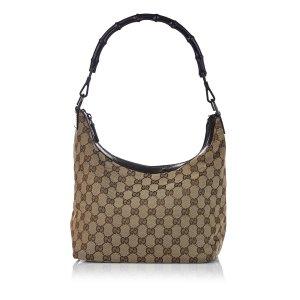 Gucci Bamboo GG Canvas Shoulder Bag