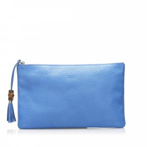 Gucci Bamboo Leather Clutch Bag