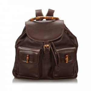 Gucci Backpack dark brown leather