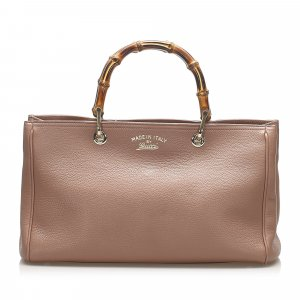 Gucci Bamboo Leather Shopper Satchel