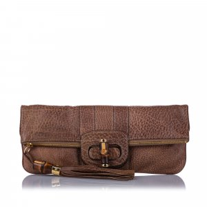 Gucci Bamboo Lucy Leather Clutch Bag