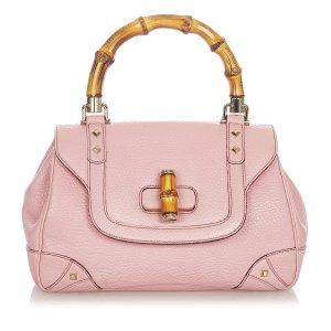 Gucci Bamboo Nailhead Leather Handbag