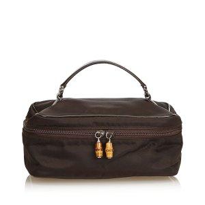 Gucci Borsa porta trucco marrone scuro Nylon