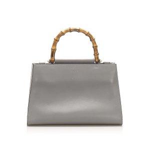 Gucci Bamboo Nymphaea Leather Handbag