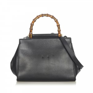 Gucci Bamboo Nymphaea Leather Satchel