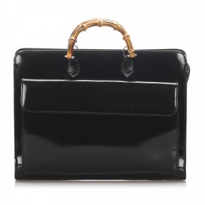 Gucci Bamboo Patent Leather Briefcase