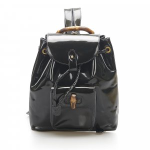 Gucci Bamboo Patent Leather Drawstring Backpack