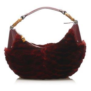 Gucci Bamboo Ring Fur Shoulder Bag