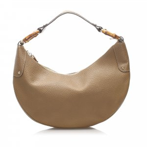 Gucci Bamboo Ring Leather Hobo Bag