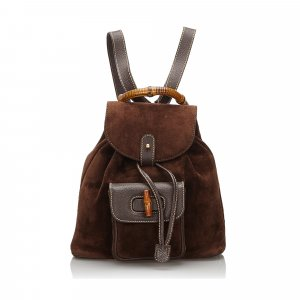 Gucci Backpack dark brown suede