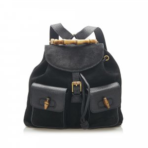 Gucci Bamboo Suede Drawstring Backpack