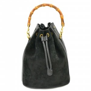 Gucci Bamboo Suede Drawstring Satchel