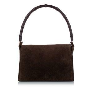 Gucci Sac porté épaule brun foncé daim