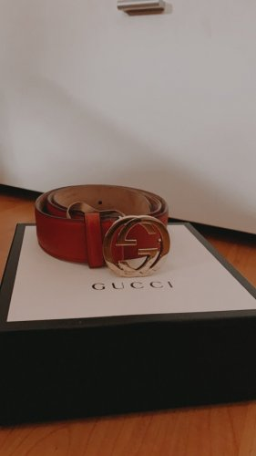 Gucci Leather Belt brick red-red leather