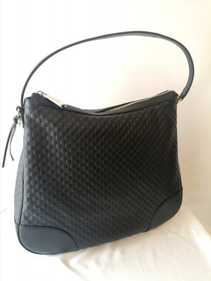 GUCCI BLACK LEATHER MICRO GG GUCCISSIMA HOBO SHOULDER BAG