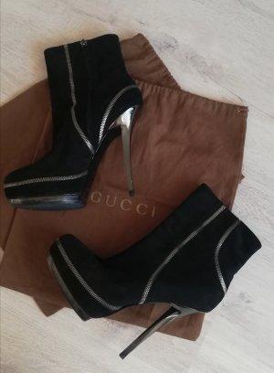 Gucci Platform Booties black-silver-colored