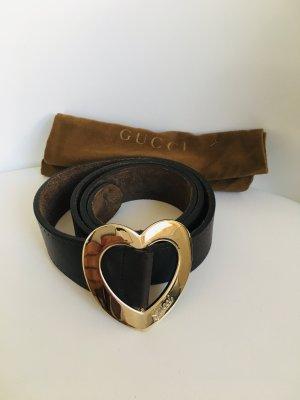 Gucci braune Leder Gürtel mit golden Herz schnalle 70-120cm