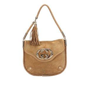Gucci Shoulder Bag brown suede
