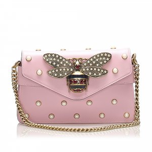 Gucci Broadway Pearly Bee Leather Crossbody Bag