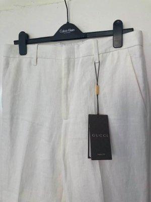 Gucci Spodnie materiałowe w kolorze białej wełny Len