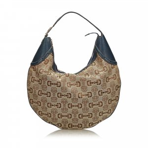 Gucci Canvas Horsebit Glam Hobo Bag