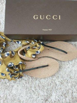 Gucci Toe-Post sandals neon yellow-cream silk