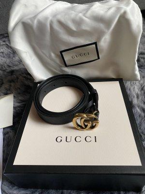 Gucci Damen GG Marmont Gürtel aus Leder mit aus Messing Schnalle 80 cm schwarz Gold