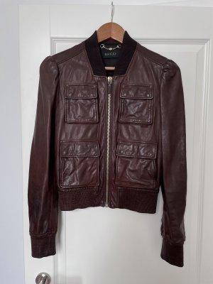 Gucci Veste en cuir rouge carmin-brun rouge