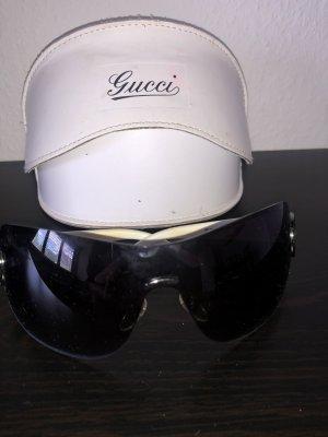 Gucci Occhiale da sole ovale bianco-nero