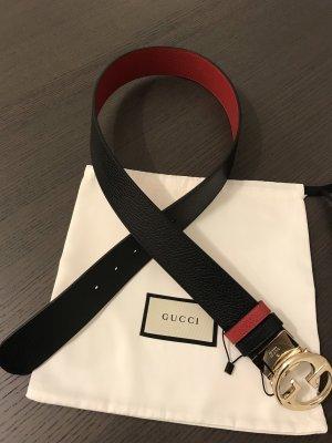 Gucci Ceinture doubles noir-rouge