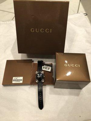 Gucci Horloge met lederen riempje zwart