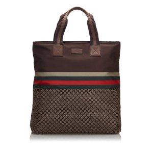 Gucci Sac fourre-tout brun nylon