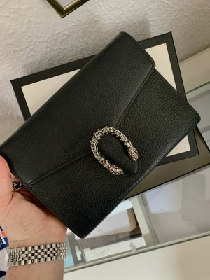 Gucci Crossbody bag black-silver-colored leather