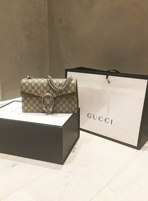 Gucci - Dionysus Schultertasche mit Monogrammmuster für Damen aus Metall/WildlederCanvas/Wildleder - Einheitsgröße - Nude