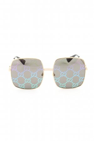 Gucci Hoekige zonnebril zwart-goud prints met een thema casual uitstraling