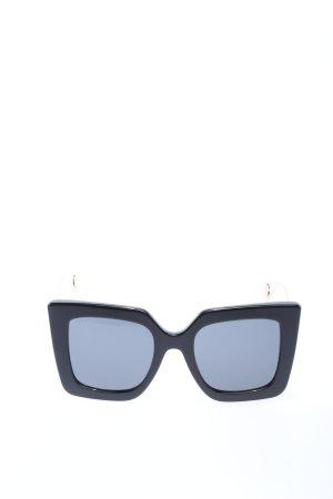 Gucci Occhiale da sole spigoloso nero-oro stile casual