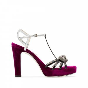 Gucci Elias Velvet Platform Sandals