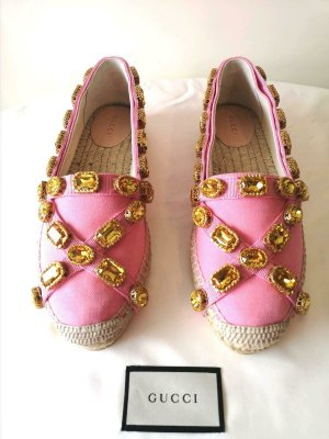 GUCCI ESPADRILLE CANVAS ROSA WITH CRYSTALS SIZE 39 EU