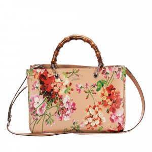 Gucci Flora Bamboo Shopper Leather Satchel